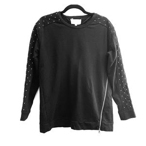 Two by Vince Camuto | Embellished Zip Front Top
